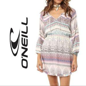 O'Neill Galena Boho Print Dress Ruffle Trim Small